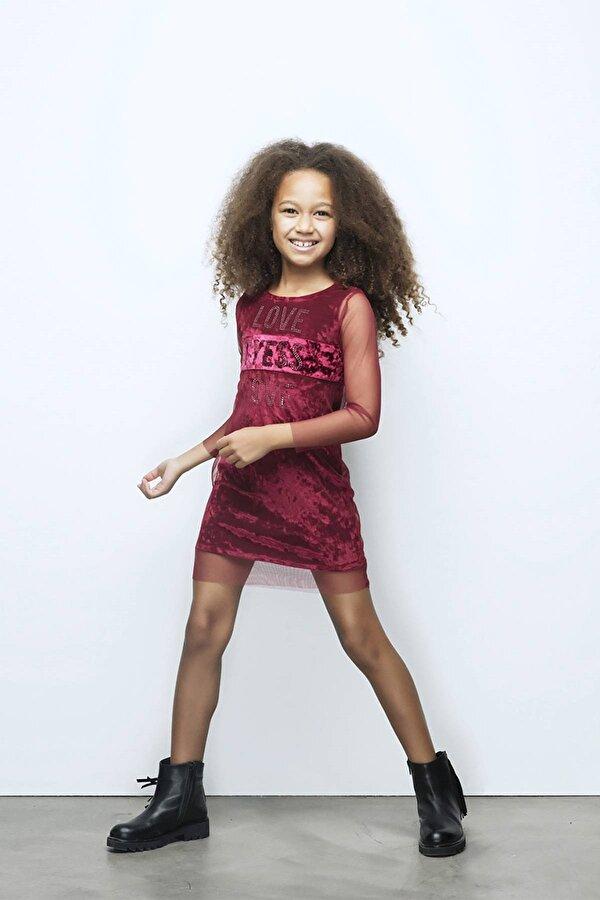 Resim Kız Çocuk Bordo Elbise