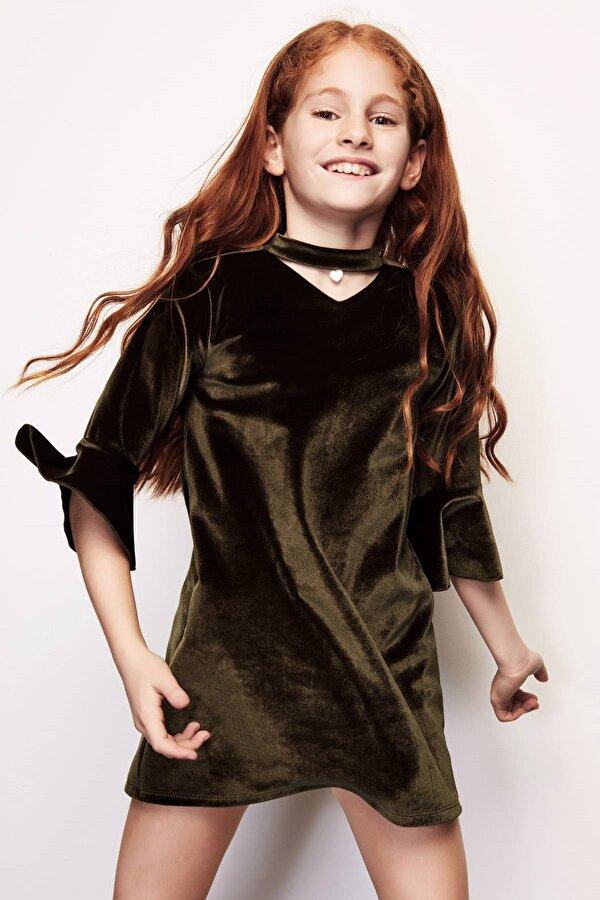 Resim Kız Çocuk Haki Elbise