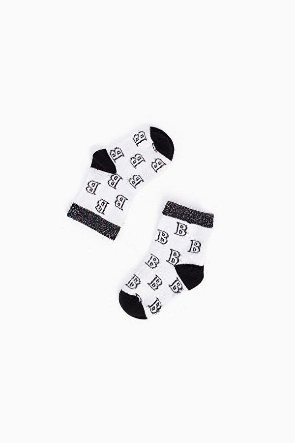 Resim Kız Bebek Siyah-Sarı-Beyaz Çorap