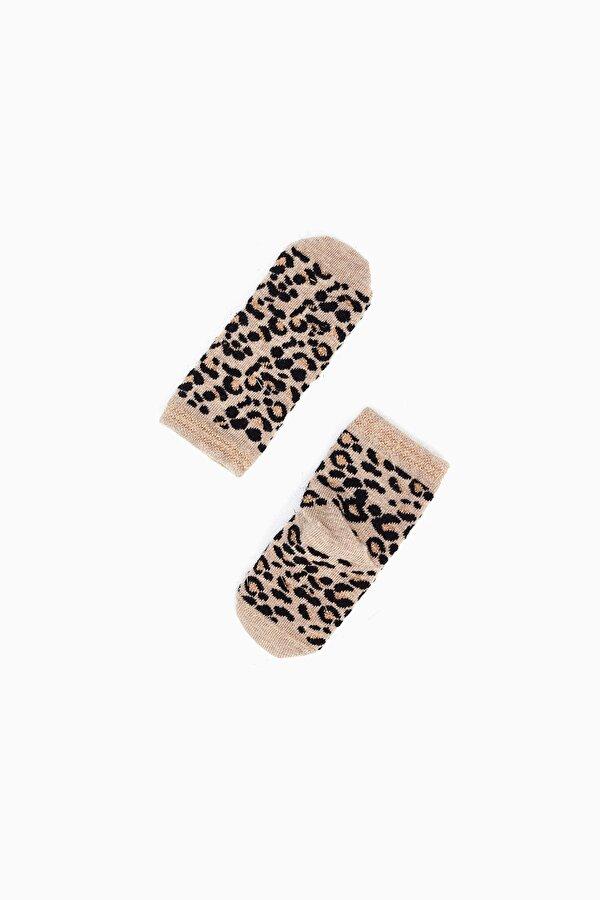 Resim Kız Bebek Leopar-Ekru Çorap