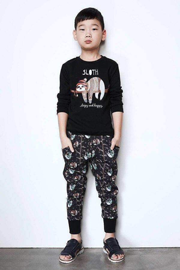 Resim Erkek Çocuk Siyah-Desenli Pijama Takımı