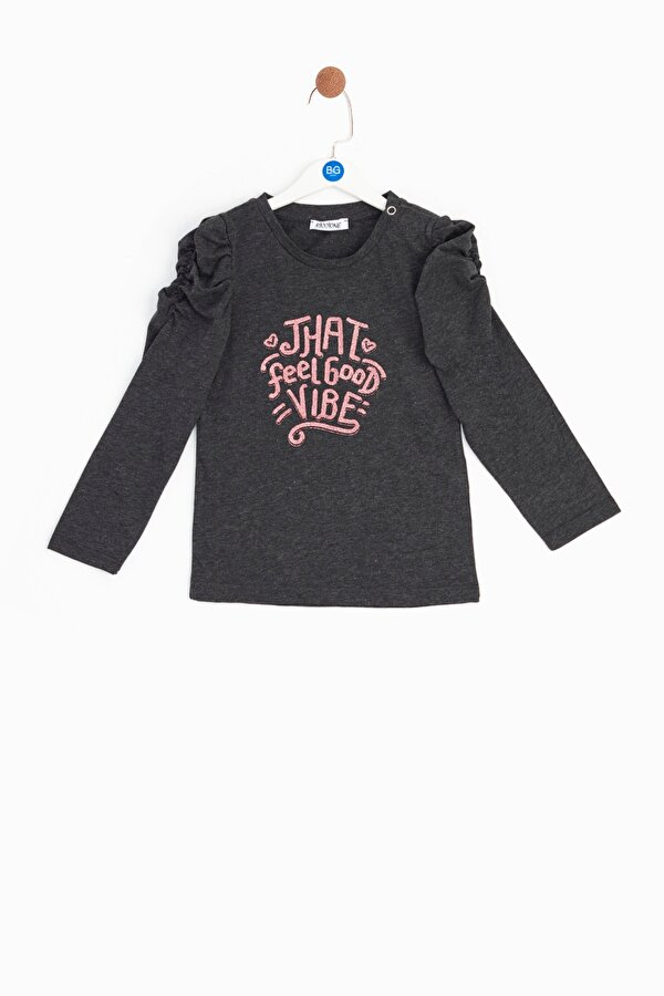 Resim Kız Bebek Gri T-Shirt