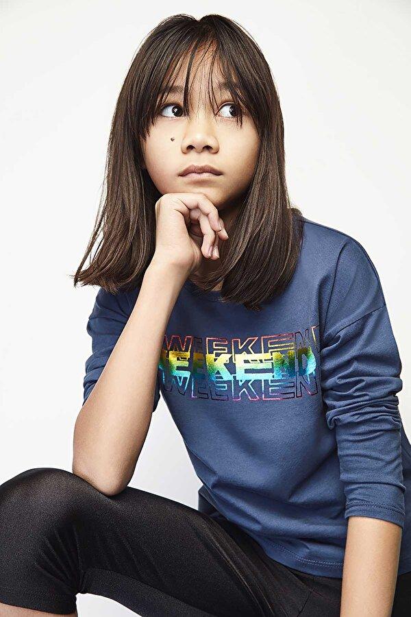 Resim Kız Çocuk Lacivert S-Shirt
