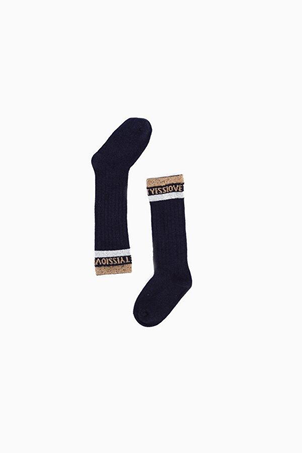 Resim Kız Çocuk Lacivert Çorap