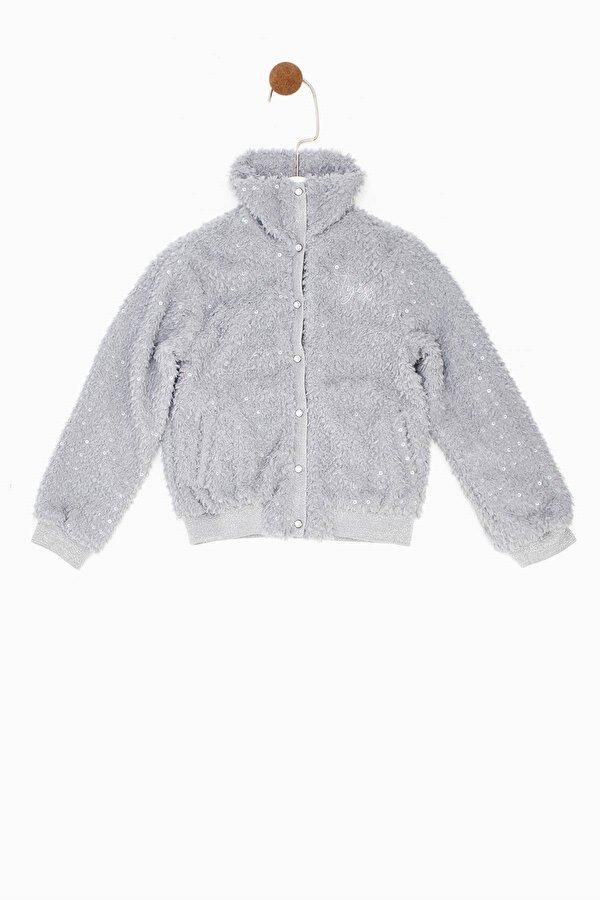 Resim Kız Çocuk Gri Melanj Ceket