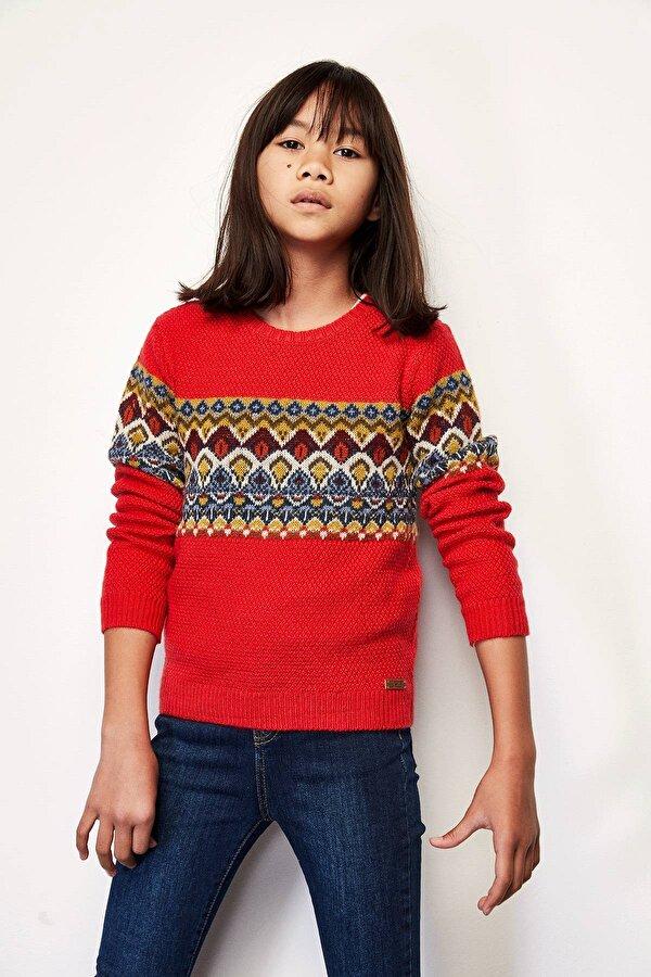 Resim Kız Çocuk Kırmızı Kazak
