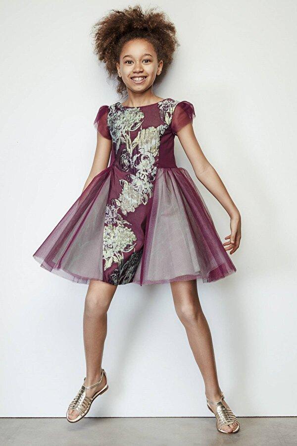 Resim Kız Çocuk Mor Elbise