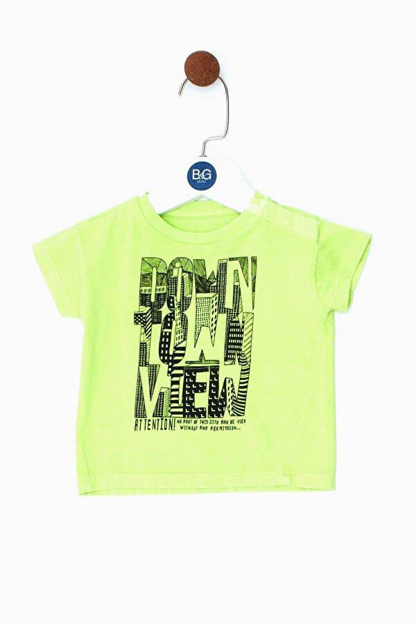 Resim Erkek Bebek Fosforlu Sarı T-Shirt