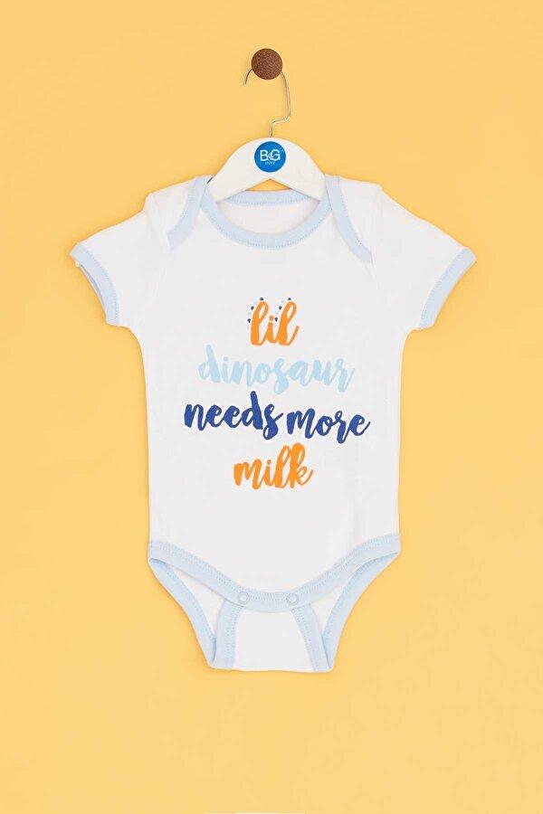 Resim Erkek Bebek Mavi-Desenli-Beyaz 3lü Body