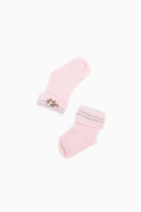 Resim Kız Bebek Beyaz-Pembe-Gri Çorap