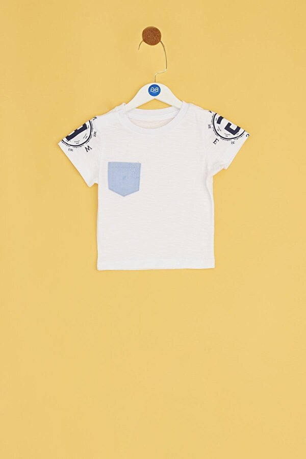Resim Erkek Bebek Beyaz T-Shirt