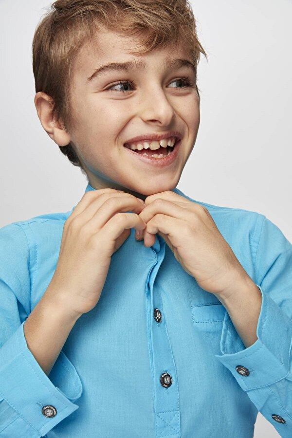Resim Erkek Çocuk Mavi Gömlek