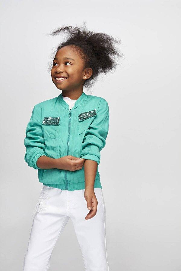 Resim Kız Çocuk Yeşil Eşofman Üstü