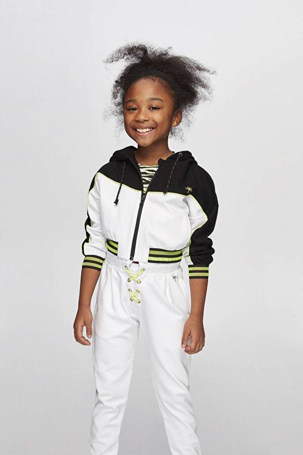 Resim Kız Çocuk Siyah Beyaz Eşofman Üstü