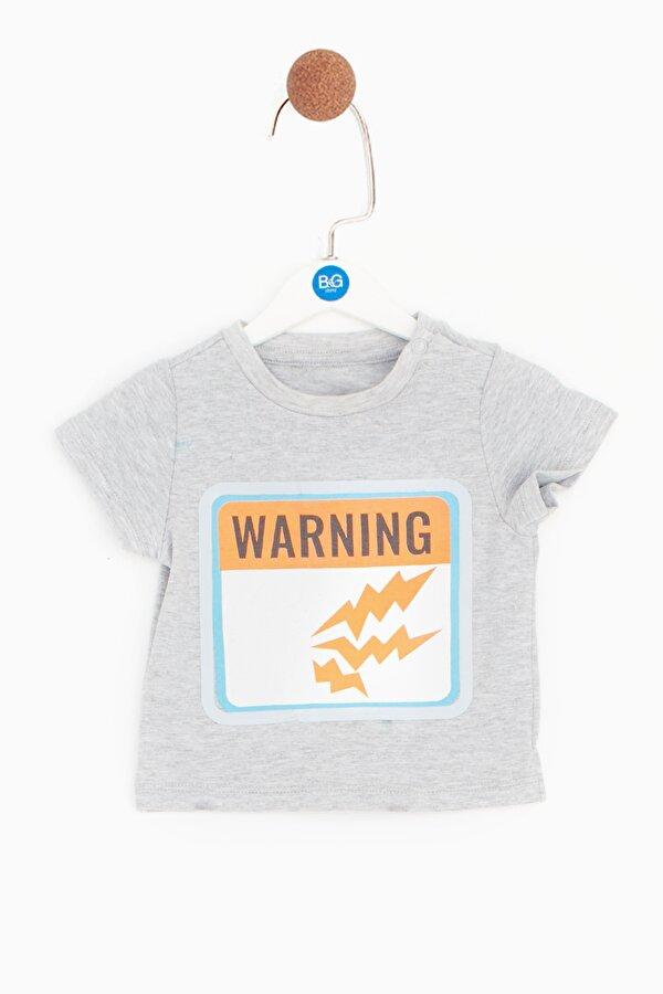 Resim Erkek Bebek Gri Melanj T-Shirt