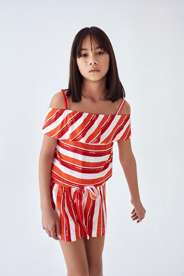 Resim Kız Çocuk Kırmızı Tulum