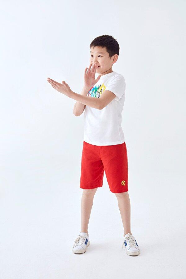 Resim Erkek Çocuk Beyaz T-Shirt Şort Takımı