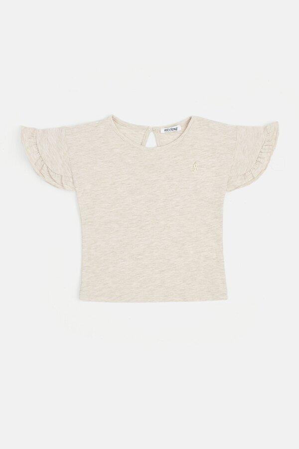 Resim Kız Bebek Bej Melanj T-Shirt