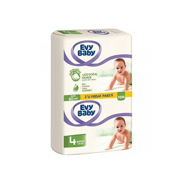 Resim Evy Baby Bebek Bezi 4 Beden Maxi 2li Fırsat Paketi 60 Adet - 8690506504298