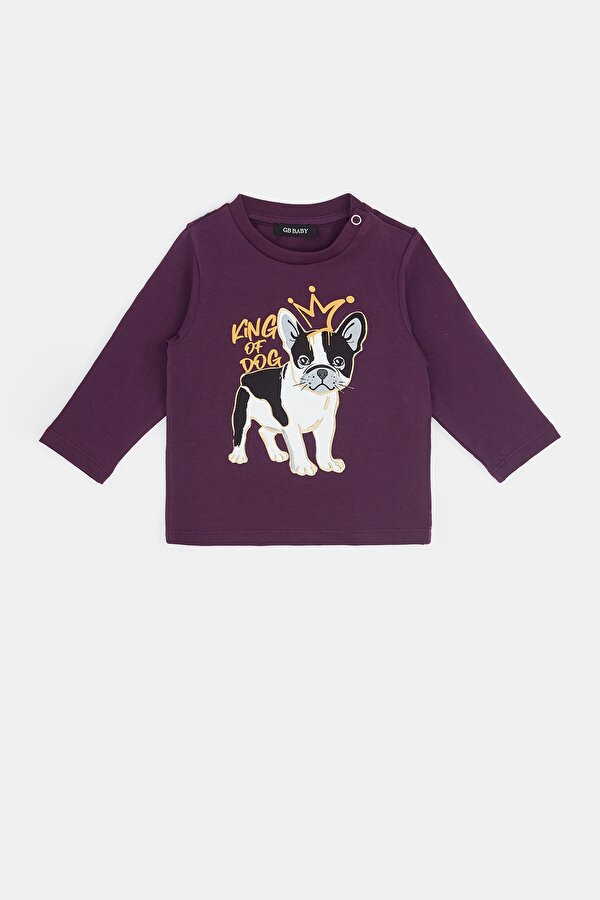 Resim Erkek Bebek Açık Mor T-Shirt