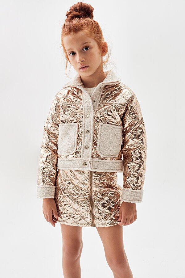 Resim Kız Çocuk Bronz Bomber Ceket