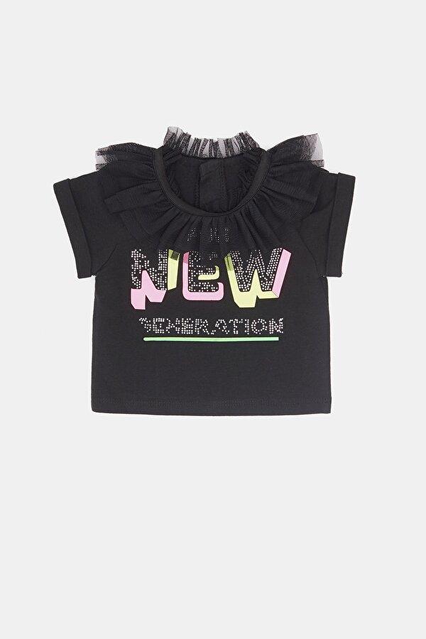 Resim Kız Bebek Siyah T-Shirt