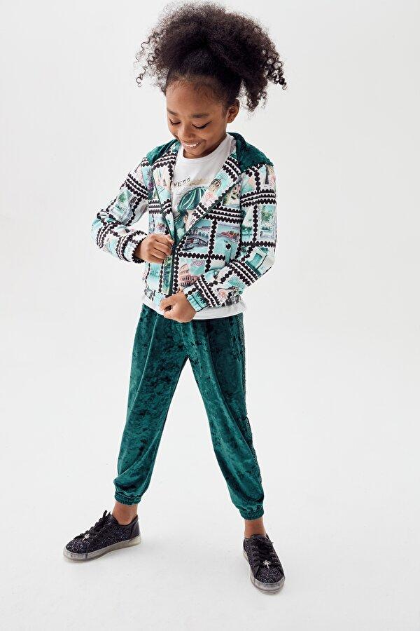 Resim Kız Çocuk Yeşil Eşofman Altı