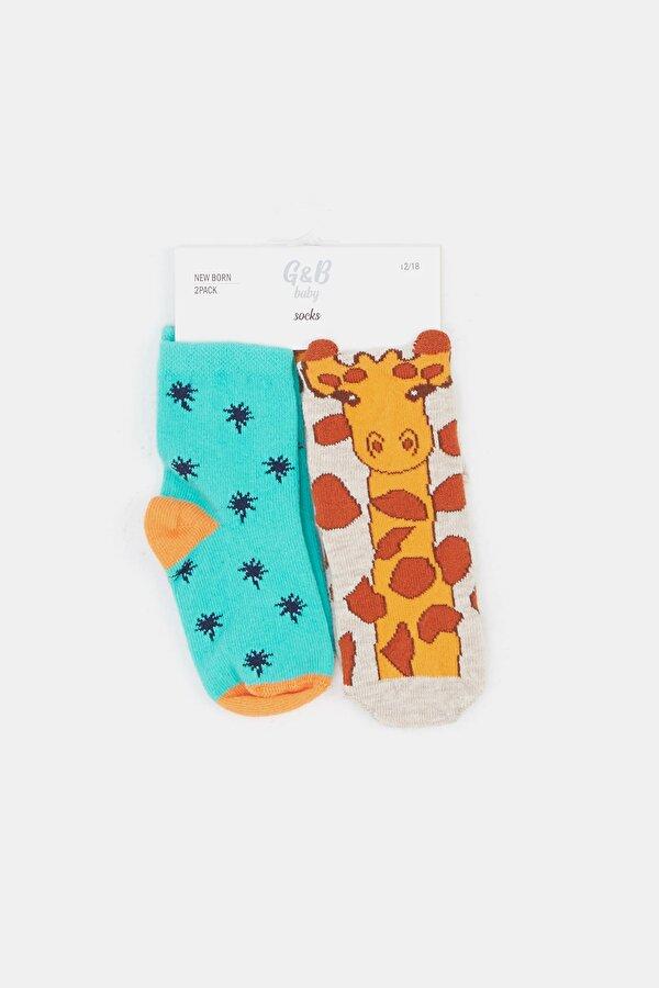 Resim Erkek Bebek Desenli Çorap