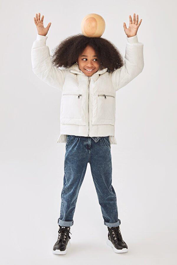 Resim Kız Çocuk Ekru Mont