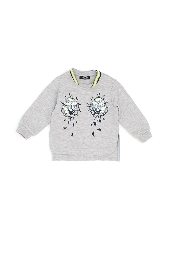 Resim Erkek Bebek Gri Melanj Sweatshirt