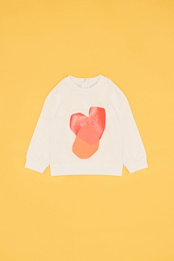 Resim Kız Bebek Beyaz Sweatshirt