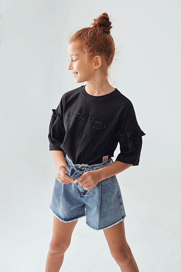 Resim Kız Çocuk Siyah Crop Top