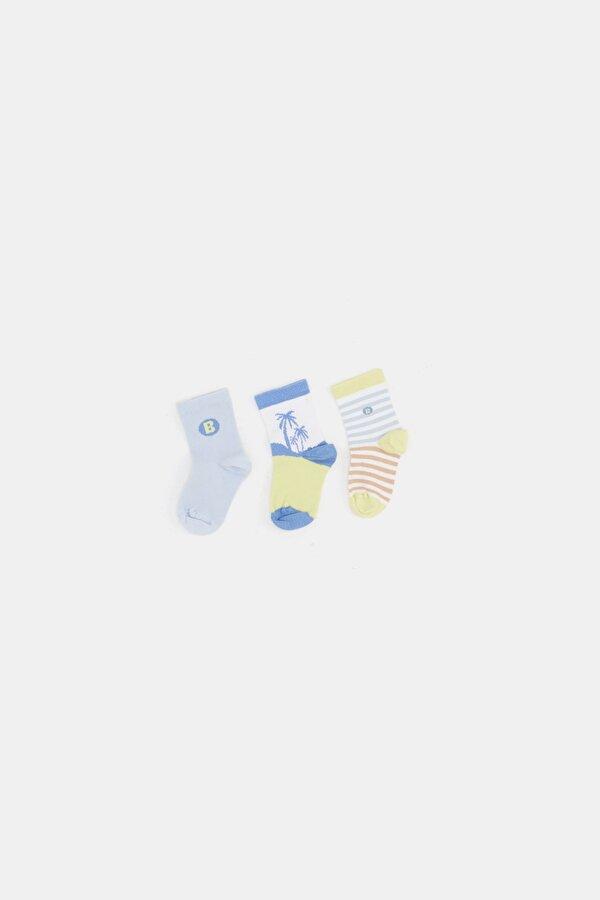 Resim Erkek Bebek Çizgili 3lü Çorap