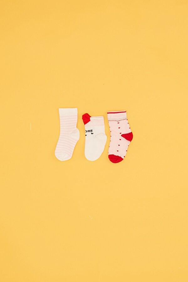 Resim Kız Bebek Pembe 3lü Çorap