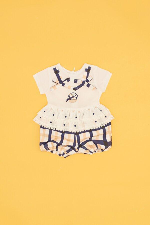 Resim Kız Bebek Ekose Tulum