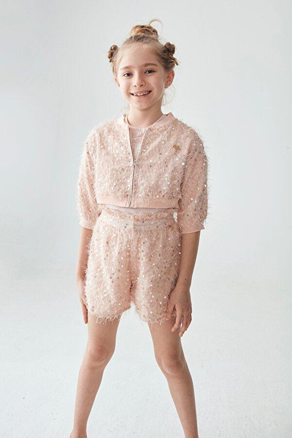 Resim Kız Çocuk Pudra Eşofman Üstü