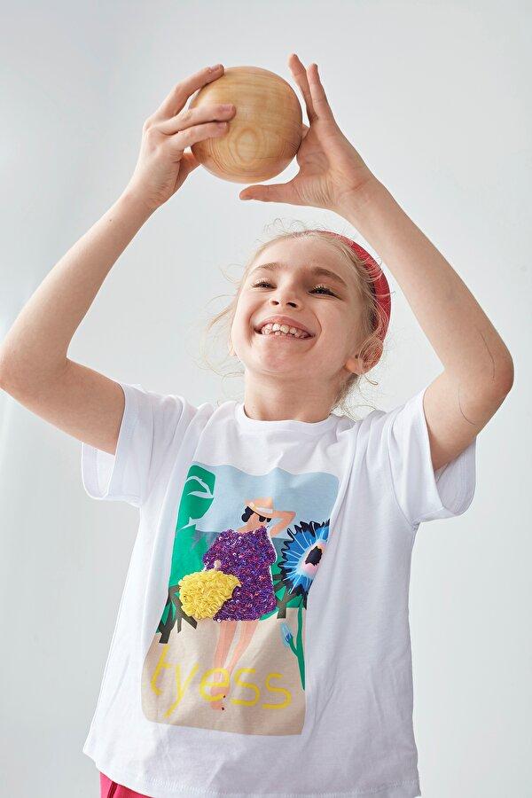 Resim Kız Çocuk Beyaz T-Shirt