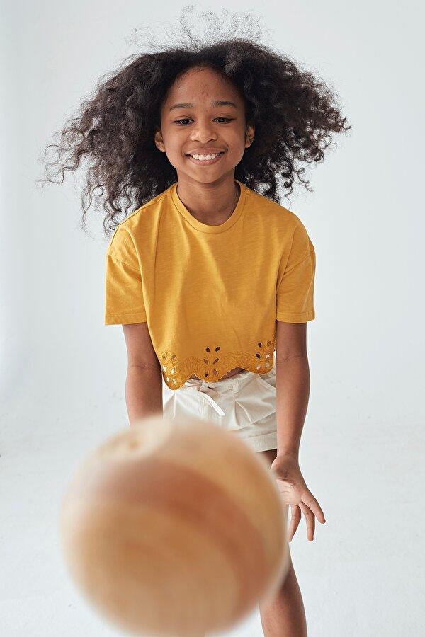 Resim Kız Çocuk Hardal Crop T-Shirt
