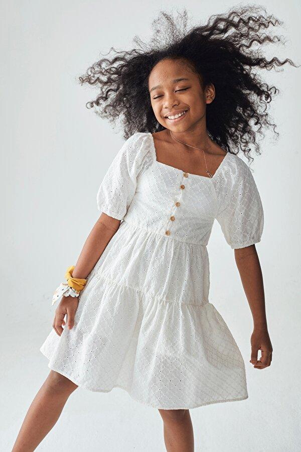 Resim Kız Çocuk Ekru Elbise
