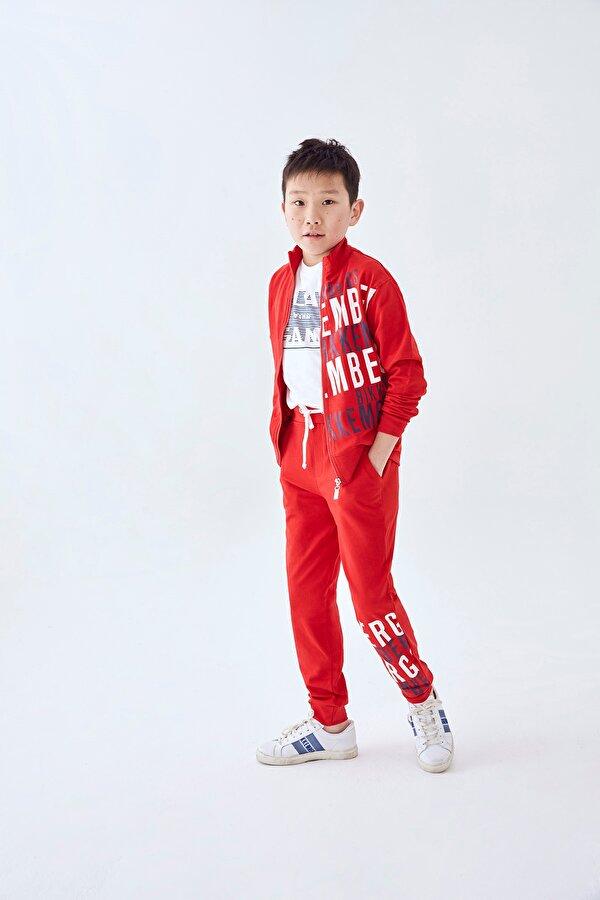 Resim Erkek Çocuk Kırmızı Eşofman Takımı