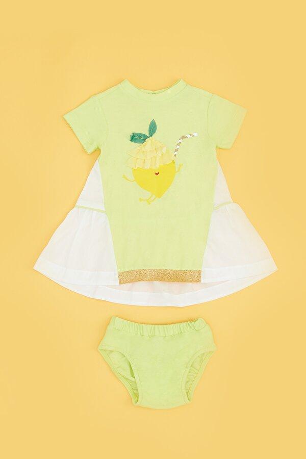 Resim Kız Bebek Neon Yeşil Elbise