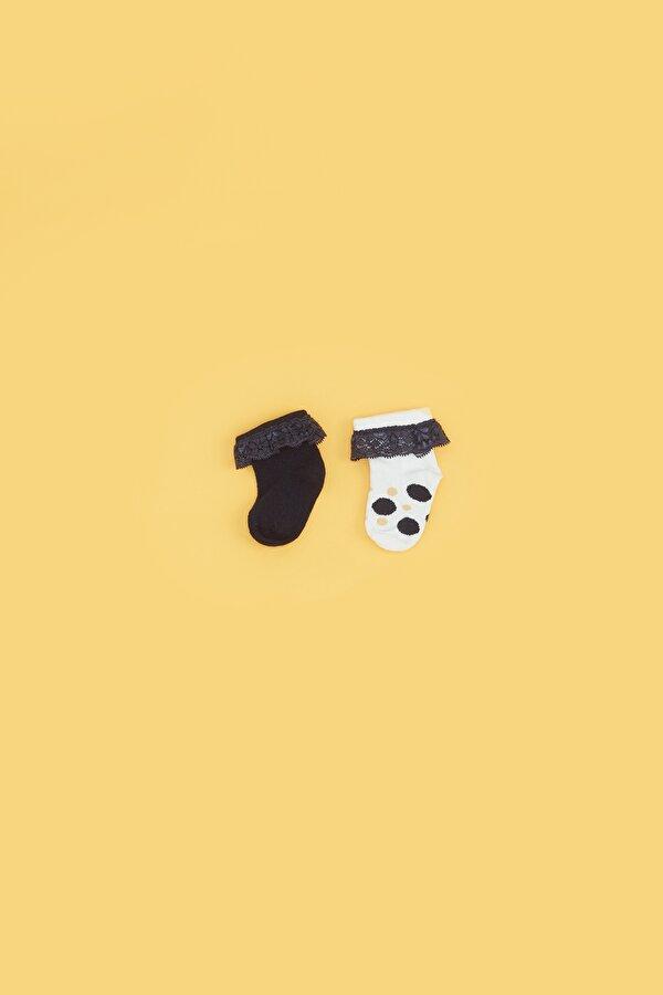 Resim Kız Bebek Lacivert 2li Çorap