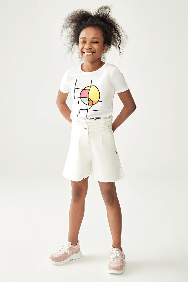 Resim Kız Çocuk Beyaz Jean Şort