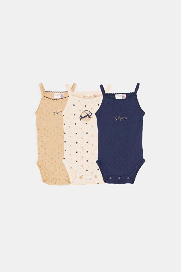 Resim Kız Bebek Renkli 3lü Body Set