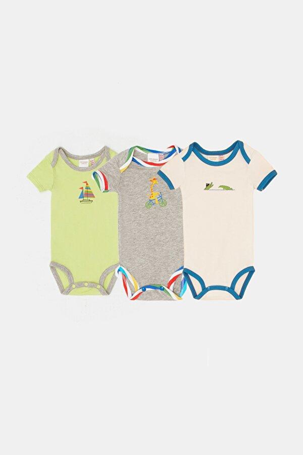 Resim Erkek Bebek Renkli 3lü Body Set