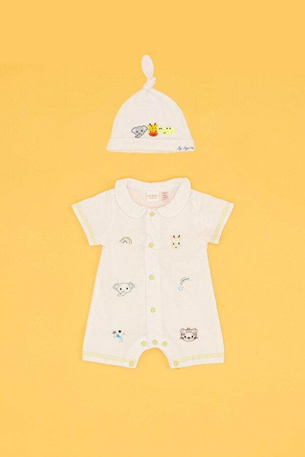 Resim Erkek Bebek Beyaz Tulum Takımı