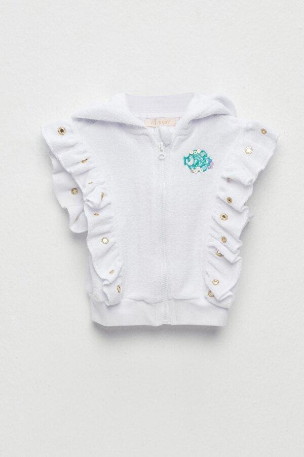 Resim Kız Bebek Beyaz Eşofman Üstü