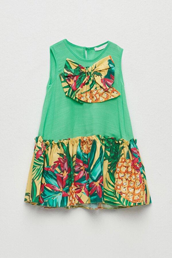 Resim Kız Bebek Yeşil Elbise
