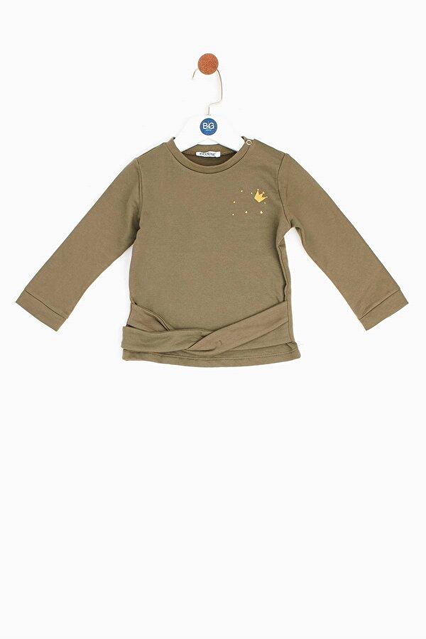 Resim Kız Bebek Haki S-Shirt