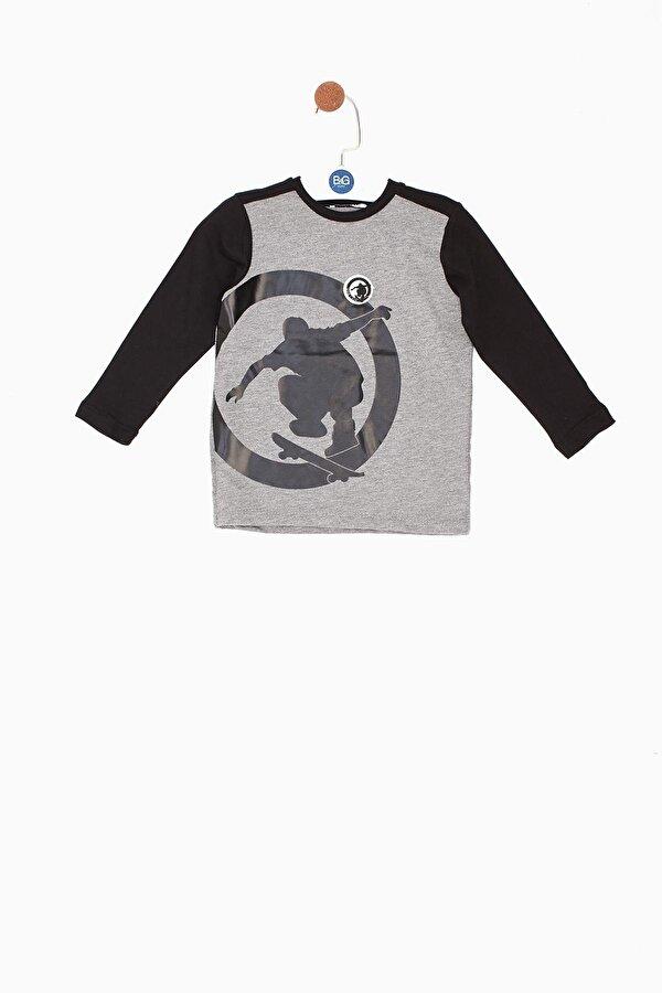 Resim Erkek Bebek Gri T-Shirt